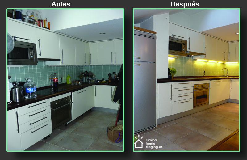 La foto del después muestra bien el efecto que puede tener el orden y la limpieza en una cocina. Con una cocina presentada de esta forma, sola hace falta encender las luces para la imagen perfecta.